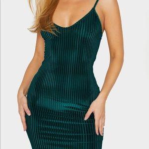 PRETTYLITTLETHING emerald green mini dress!